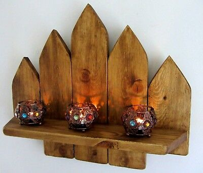 47 Cm Reclaimed Rustic Wood Moroccan Style Floating Shelf  Led Candle Sconce
