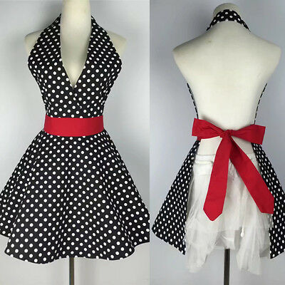 Vintage Women's Polka Dot Ruffles Bib Apron Kitchen Chef Cooking Cotton Pinafore