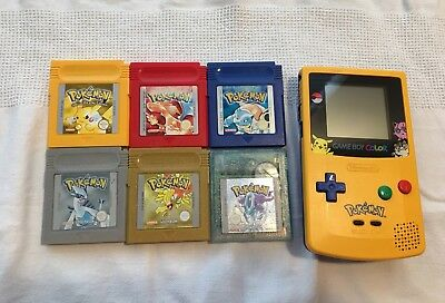 Pokemon Edition Gameboy Complete Yellow Red Blue Gold Silver Crystal Genuine Set