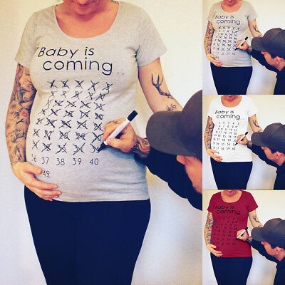 Pregnant Women Summer Casual T-Shirt Tops Funny Loose Blouse Maternity Clothes
