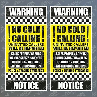 2x Stop Cold Calling Door Stickers Religious Groups No Canvassers Callers Sign