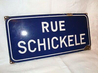 """Rare & old French enamel Street sign """"Rue Schickele"""", from town Obernai, Alsace"""