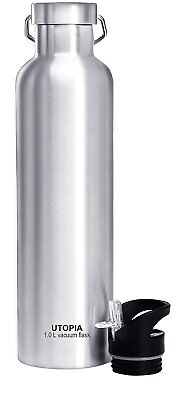 1 Liter Vacuum Insulated Stainless Steel Water Bottle Leak Proof By Utopia Home
