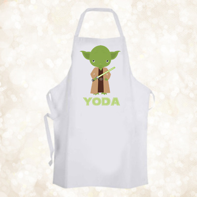 Personalised Cute Yoda Baking Cooking Apron Ideal Birthday Party Gift