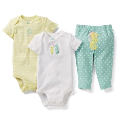 NEW NWT Girls Carters 3 Piece Set 3 Months Bodysuits Pants Seahorse Love You