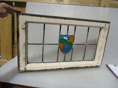 Vintage Stained Glass Window Panel Architectural Antique Old Shield Crest Wooden