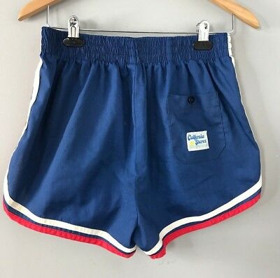 Vintage 70s California Shores Blue Red White Swim Trunks Hot Pants Shorts Size L