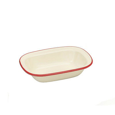Victor 20cm Oblong Pie Dish, Red Traditional Enamel Cream Edged Rectangle Tin