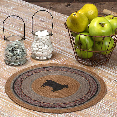 New Primitive WINE BLACK STAR Jute Braided Doily Trivet Table Candle Mat 13/""