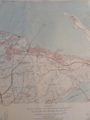 """N.J.-N.Y 1954 M-12 22/"""" X 27/"""" New York State Topographical Map of Sandy Hook"""