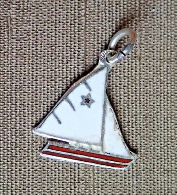 Silber Charm enameled, Segelboot, sail boat
