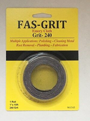 "Fas-Grit 1"" x 10' Emery Cloth-Grit 240 Aluminum Oxide Multiple Applications"