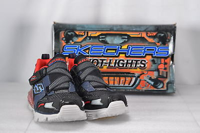 Youth Boy's Skechers S Lights-Orbiters Hook and Loop Sneakers Navy