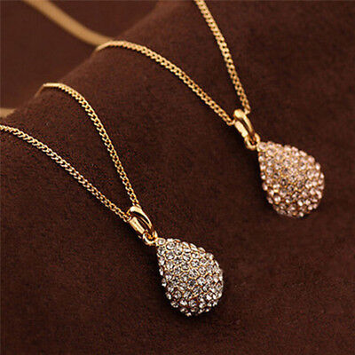 Fashion Gold Silver Plated Crystals Pendant Long Chain Statement Necklace Womens
