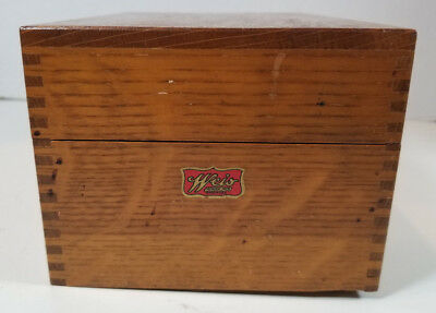Vintage Weis Wooden Recipe Index Card Catalog Library File Box