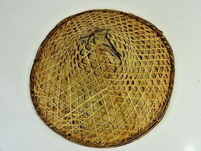"VTG Chinese Asian Farmer Rice Paddy Coolie Bamboo Sun Straw Woven Hat - 15"" Dia"