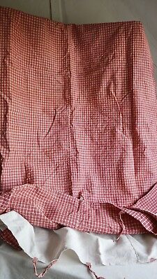 19C Antique French Fabric Vintage Mattress Cover Red White Cotton Linen Checked