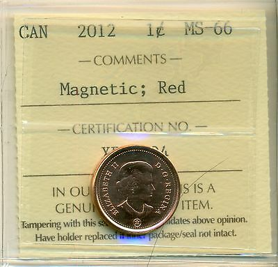 "2012 Canada Small Cent ""Magnetic"" Certified ICCS MS-66"