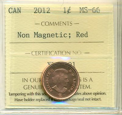 "2012 Canada Small Cent ""Non Magnetic"" Certified ICCS MS-66"