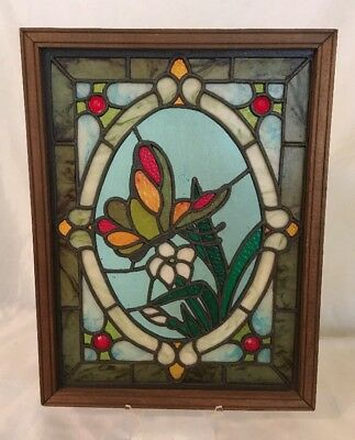 VINTAGE 1970s STAINED ART GLASS WINDOW HANGING SUN CATCHER PANE