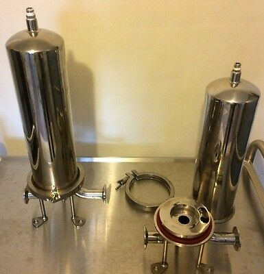 """2 x 20"""" Hygienic Filter Housings, 316 Stainless Steel, With Clamps & Stands"""