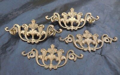 (4) Brass Cabinet Drawer Pull Back Plate Ornate Art Nouveau French Provincial