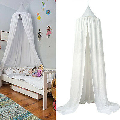 Bed Canopy Baby Bedding Round Dome Bedcover Mosquito Net Sleep Curtain Cotton AU