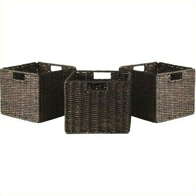Pemberly Row Foldable 3 Piece Small Baskets in Chocolate