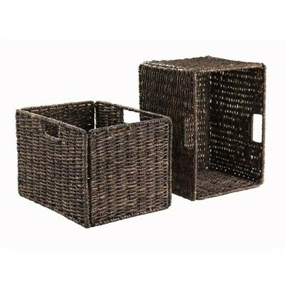 Pemberly Row 2Pc Foldable Tall Baskets Corn Husk in Chocolate