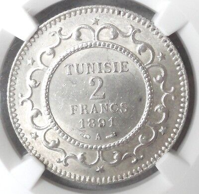Tunisia Ah1308/1891A, 2 Francs, Ngc Ms 63, Silver