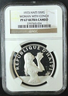 Haiti 1973 50 Gourdes Ngc Proof 67 Ultra Cameo  Woman With Conch