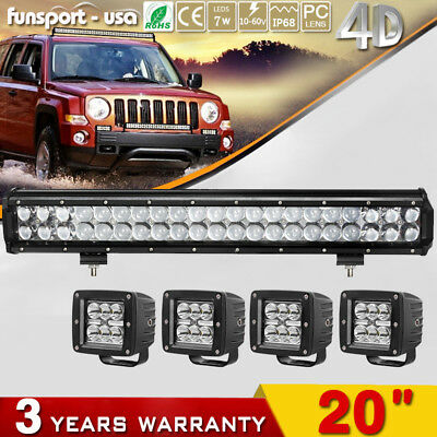 """4D 20inch LED Light Bar Flood Combo +4x 3"""" Spot Pods for Ford Dodge Jeep SUV 4WD"""