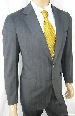 38R RALPH LAUREN Polo Men 38 R Suit Charcoal Pinstripe University Club w/flaw