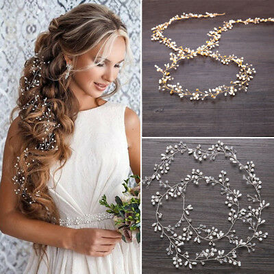 "59"" Long Wedding Hair Vine Crystal Pearl Headband Bridal Accessories Gold Silver"
