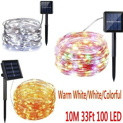 Outdoor Solar Powered 10M 100 LED Copper Wire Light String Fairy Xmas Party CALD