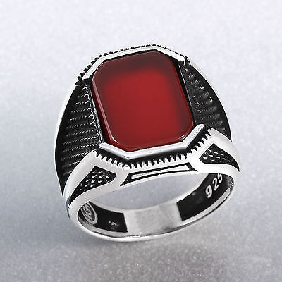 Turkish Handmade Silver Men's Ring with Red Agate Stone in 925 Sterling for Male