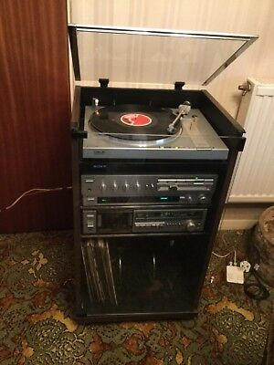 1970s Vintage Sony Hifi System, Sony Cabinet With Pair Sony Speakers On  Stands