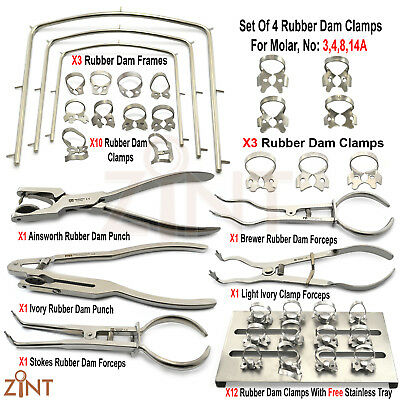 Basic Rubber Dam Instruments Ainsworth Ivory Puch Brewer Stoke Forceps Clamps CE