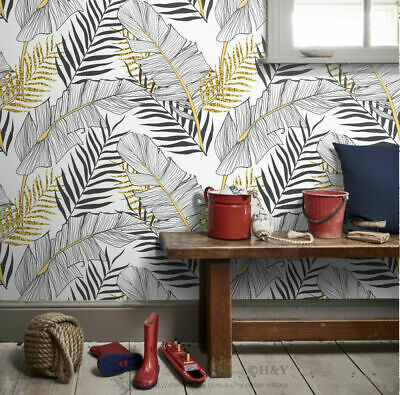 Golden Leaves Wall Paper Print Removable Mural Covering Wallpaper Home Decor B14