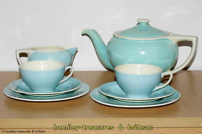 Susie Cooper Turquoise Crescent Pattern Teapot, 2x Trio and Milk Jug Rex Shape