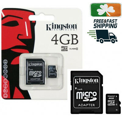 4GB KINGSTON Micro SD SDHC SD Memory Card Class 10 45MB/s 4GB With Adapter