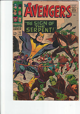 "THE AVENGERS #32 Marvel-1966 ""THE SIGN OF THE SERPENT"" VG/FN Silver Age"