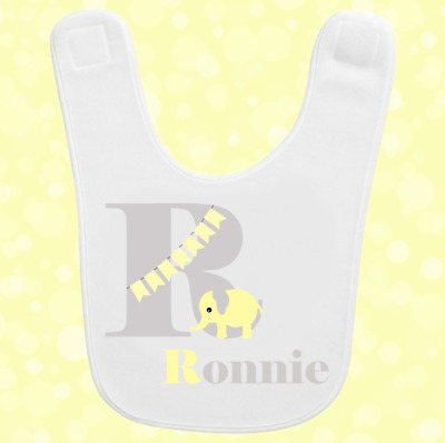 Personalised Custom Baby Toddler Bib Gift Present Any Name Initial Elephant 6