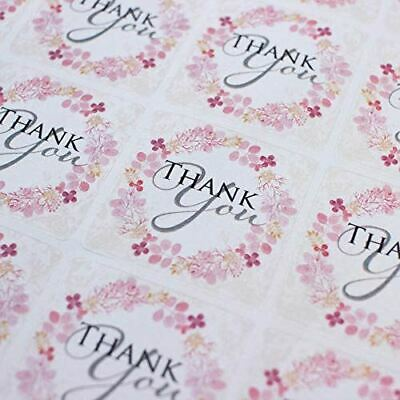 Pink Floral Wreath 'Thank You' Square Stickers  x 35 Stickers