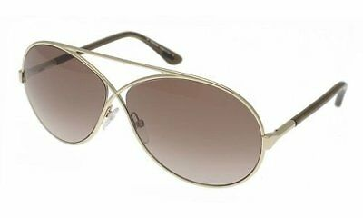 d83f80e239 Tom Ford Georgette Sunglasses Gold Tone Frame Brown Lens FT0154 28F 64-11  125