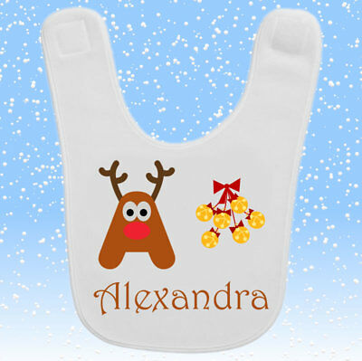 Personalised Custom Baby Toddler Bib Gift Present Any Name Initial Cute Reindeer