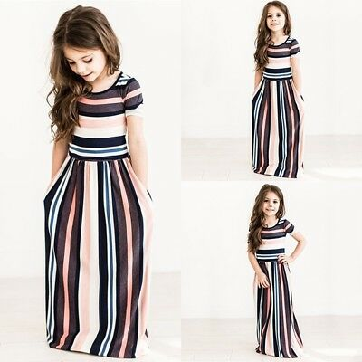 Girls Maxi Dress Color Striped High Waist Long Skirt Soft Cotton Loose All Sizes