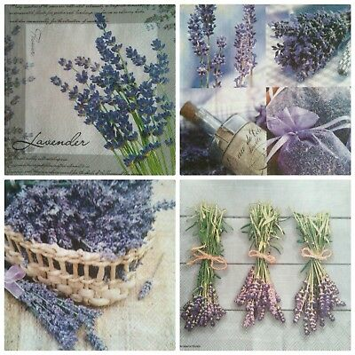 4 paper napkins, use for decoupage Lavender mix.Servilletas decoupage,lavanda