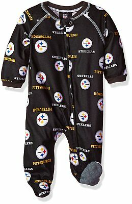 NFL Infant Pittsburgh Steelers All Over Print Zip Up Coverall Pajamas