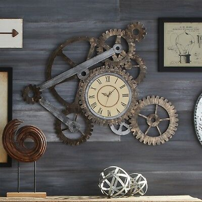 Industrial Gear Clock Gears Wall Art Rustic Farmhouse Metal Steam Punk Style